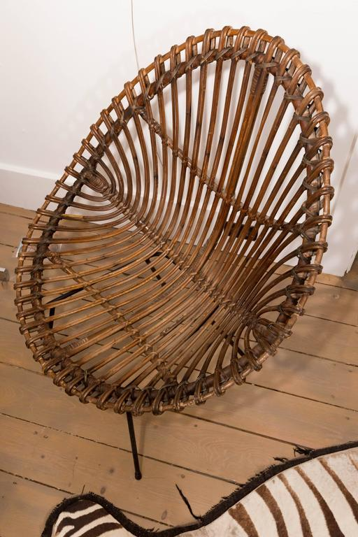 Metal Pair of Bamboo Chairs in the Style of Franco Albini For Sale