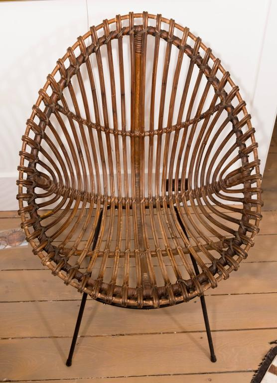 Pair of Bamboo Chairs in the Style of Franco Albini For Sale 1