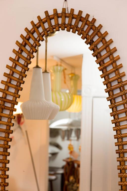 Long oval rattan surround mirror at 1stdibs for Long wall mirrors for sale