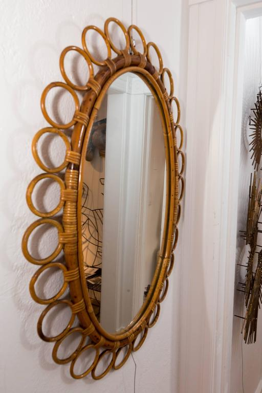 Mid-Century Modern Oval Bamboo Surround Mirror For Sale