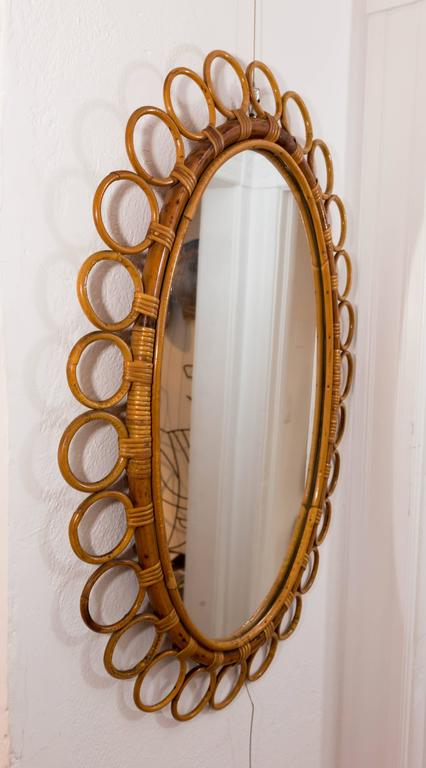 Italian Oval Bamboo Surround Mirror For Sale