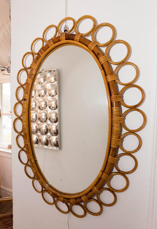 Oval Bamboo Surround Mirror In Excellent Condition For Sale In Bridgehampton, NY