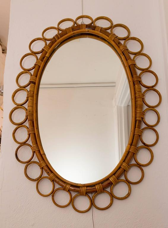20th Century Oval Bamboo Surround Mirror For Sale
