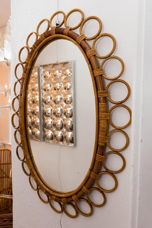 Oval Bamboo Surround Mirror For Sale 1