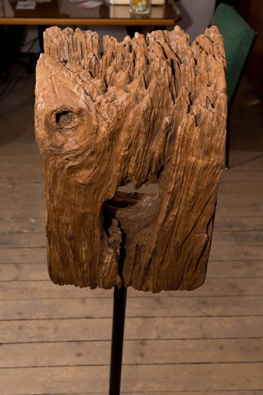 Unique wood sculpture on metal base for sale at stdibs
