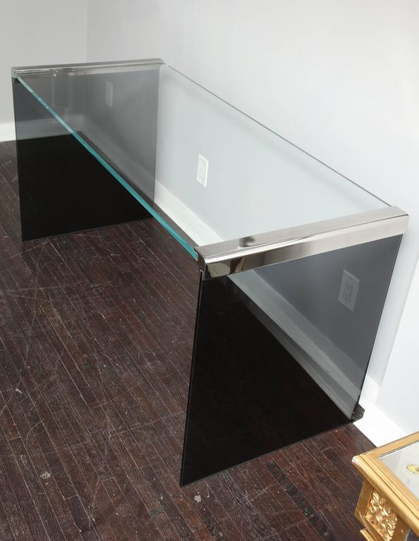 Modern Vintage Waterfall Desk in Chrome with Smoke and Clear Glass For Sale