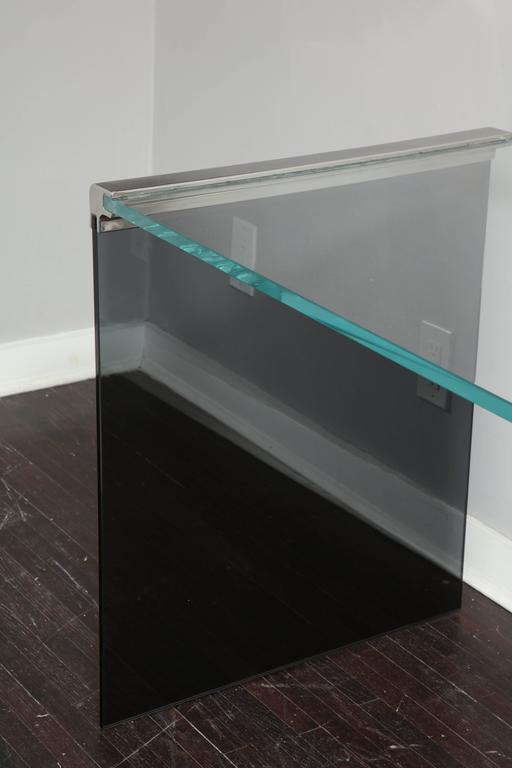 American Vintage Waterfall Desk in Chrome with Smoke and Clear Glass For Sale