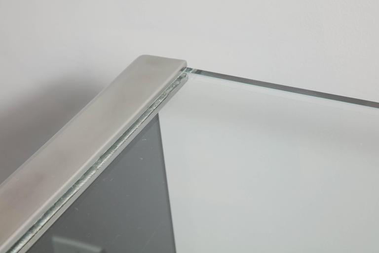 Vintage Waterfall Desk in Chrome with Smoke and Clear Glass In Good Condition For Sale In New York, NY