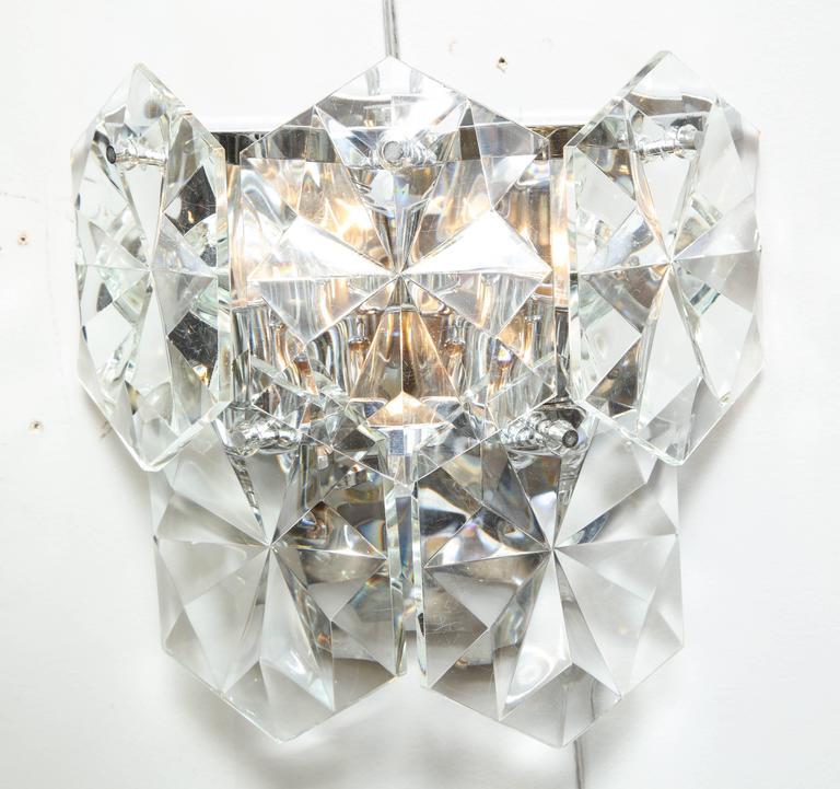 Modern Pair of Glamorous 1970s Kinkeldey Oversized Crystal Sconces For Sale