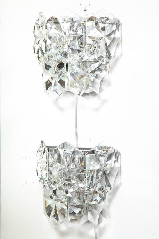 Austrian Pair of Glamorous 1970s Kinkeldey Oversized Crystal Sconces For Sale