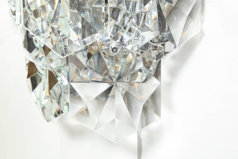 Late 20th Century Pair of Glamorous 1970s Kinkeldey Oversized Crystal Sconces For Sale