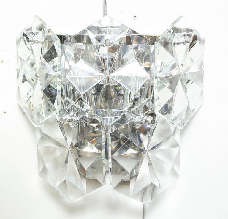 Pair of Glamorous 1970s Kinkeldey Oversized Crystal Sconces For Sale 1