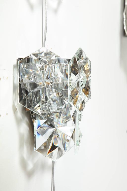Pair of Glamorous 1970s Kinkeldey Oversized Crystal Sconces For Sale 2