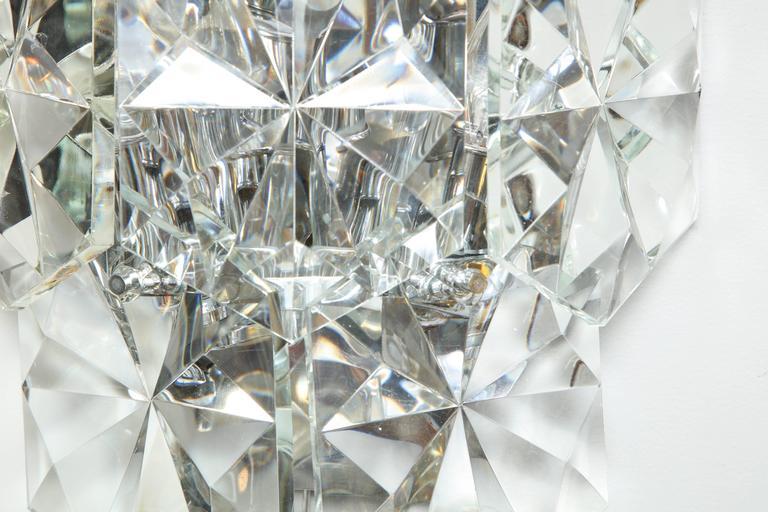 Pair of Glamorous 1970s Kinkeldey Oversized Crystal Sconces For Sale 3