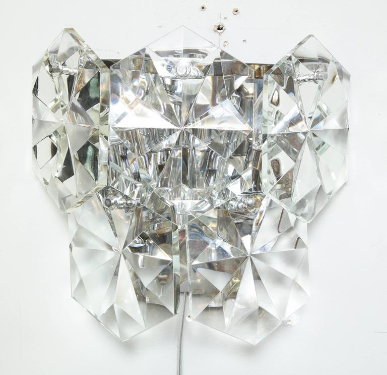 Pair of Glamorous 1970s Kinkeldey Oversized Crystal Sconces For Sale 4