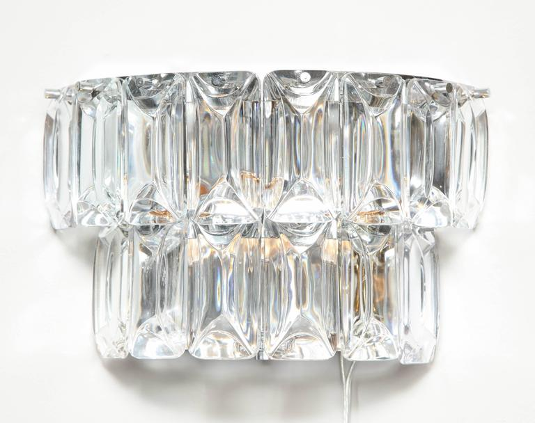 Modern Glamorous 1970s Austrian Crystal Sconces For Sale