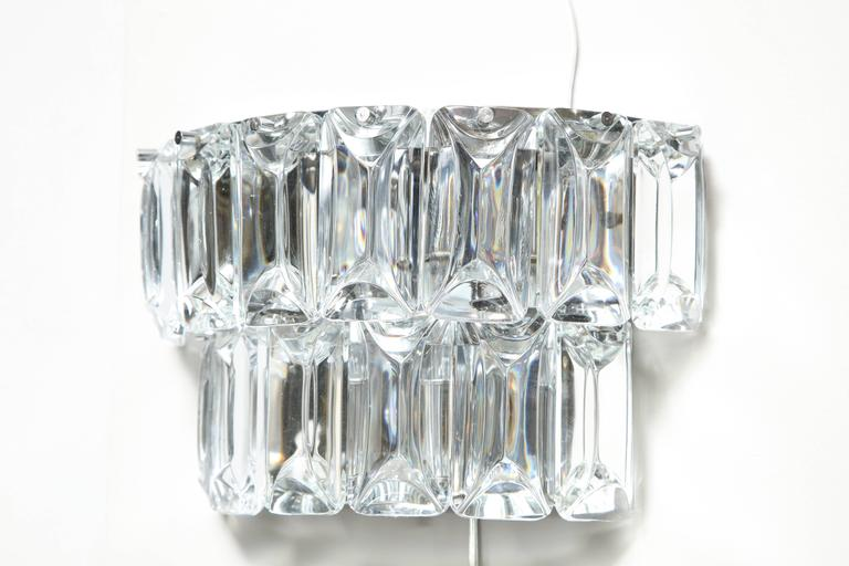 Late 20th Century Glamorous 1970s Austrian Crystal Sconces For Sale