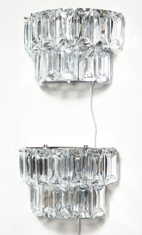 Glamorous 1970s Austrian Crystal Sconces For Sale 1