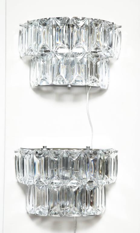 Glamorous 1970s Austrian Crystal Sconces For Sale 4