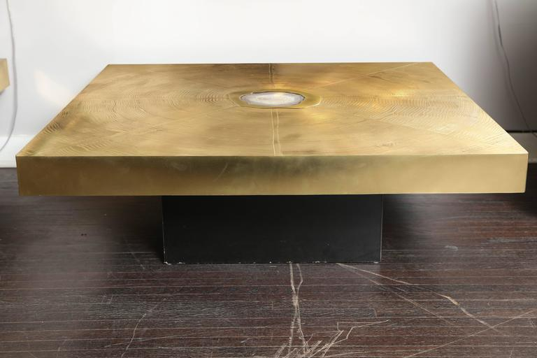Vintage Belgium Etched Brass and Agate Cocktail Table 2