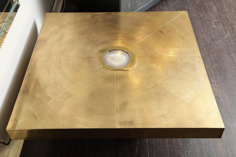 Vintage Belgium Etched Brass and Agate Cocktail Table 3
