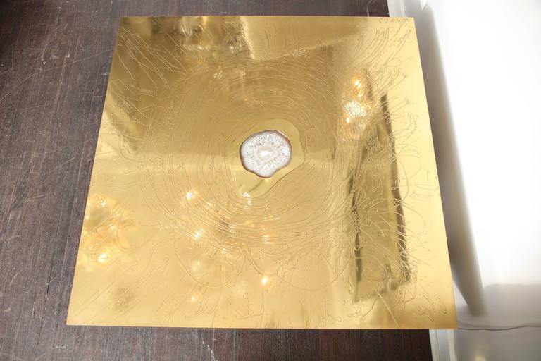 Etched Brass and Agate Cocktail Table Signed Atom'58 2