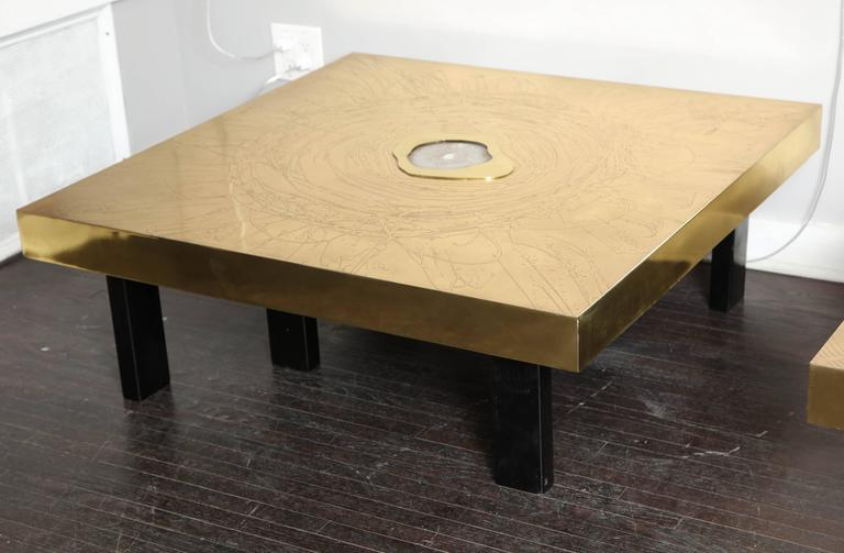 Mid-Century Modern Etched Brass and Agate Cocktail Table Signed Atom'58 For Sale