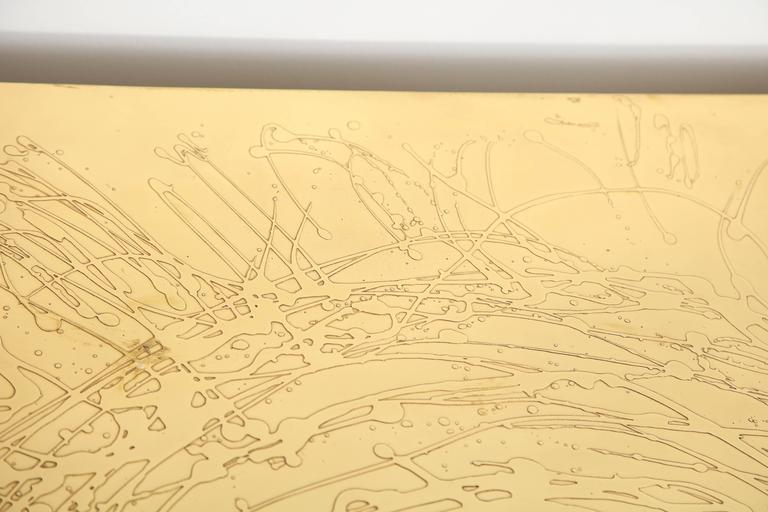 Mid-20th Century Etched Brass and Agate Cocktail Table Signed Atom'58 For Sale