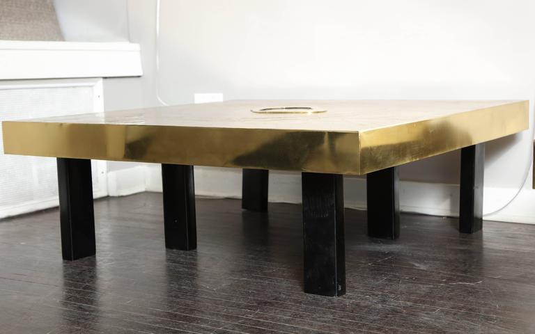 Etched Brass and Agate Cocktail Table Signed Atom'58 9