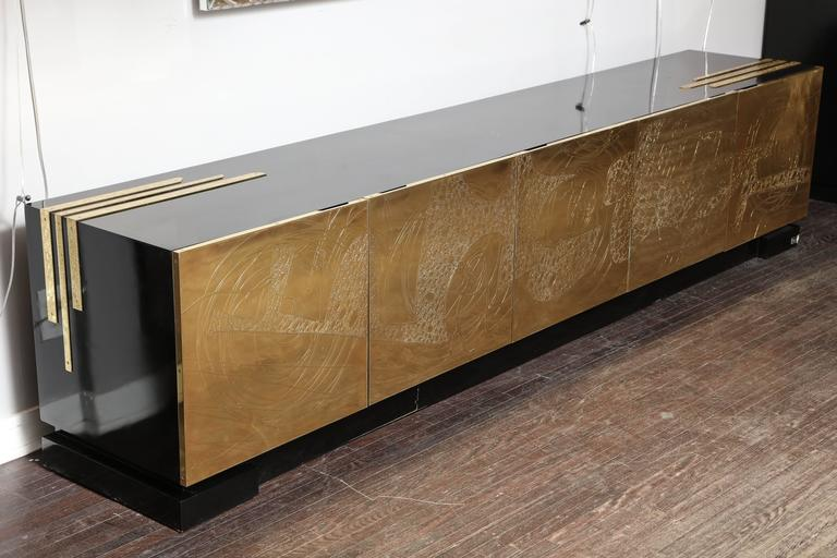 Monumental Belgian Side Board with Etched Brass Doors 2