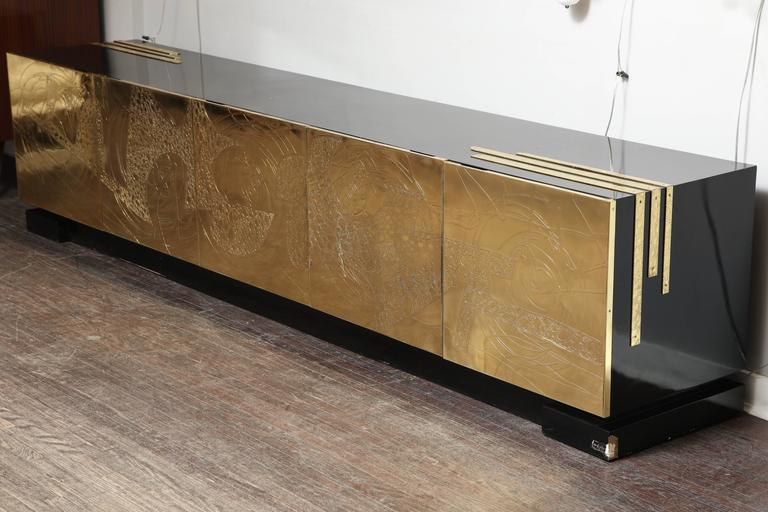 Monumental Belgian Side Board with Etched Brass Doors 3