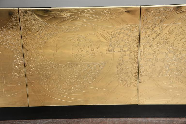 Monumental Belgian Side Board with Etched Brass Doors 6