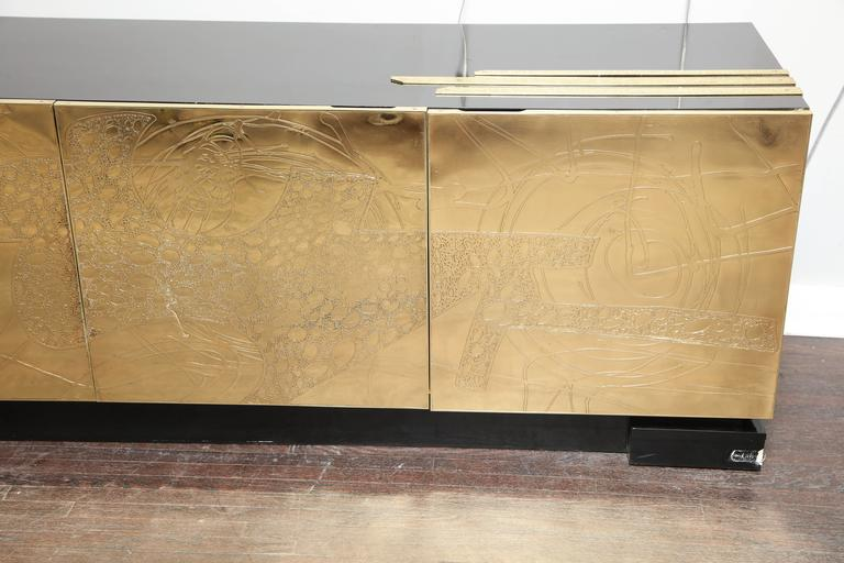 Monumental Belgian Side Board with Etched Brass Doors 7
