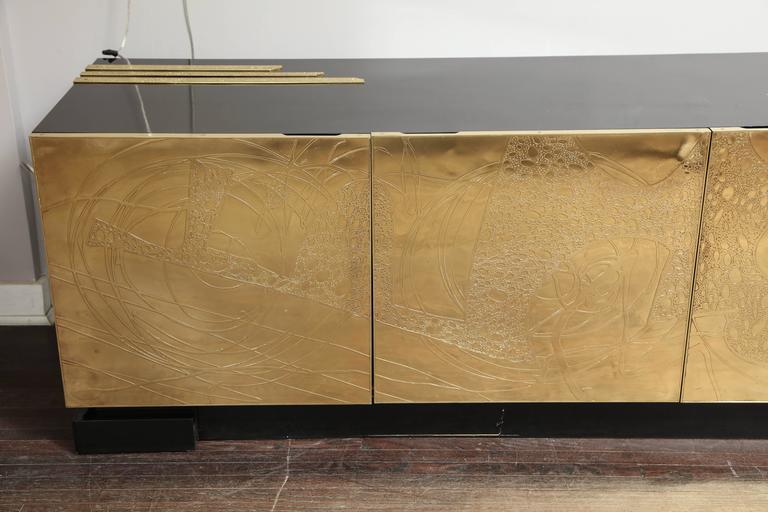 Monumental Belgian Side Board with Etched Brass Doors 8