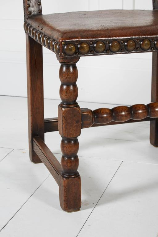 Antique Leather Chairs With Large Brass Nailheads For Sale