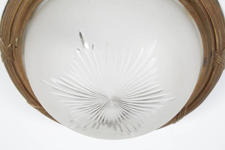 Glass Pair of Flush Mount Ceiling Lights For Sale