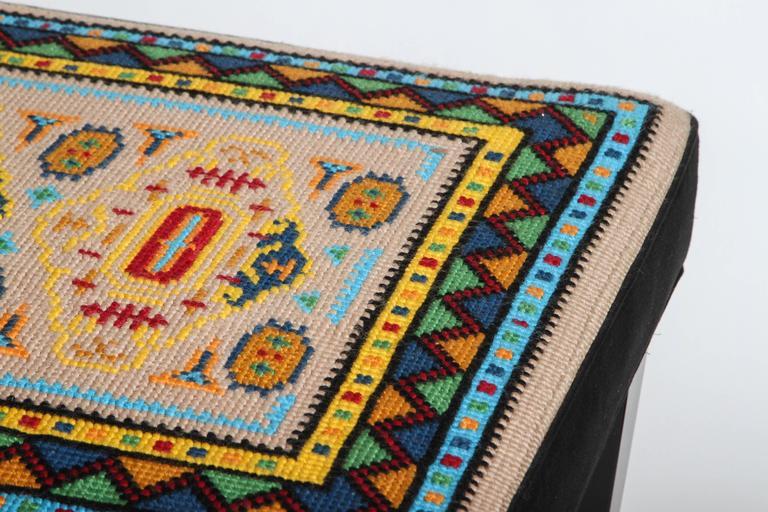 Vintage Needlepoint Ottoman For Sale At 1stdibs
