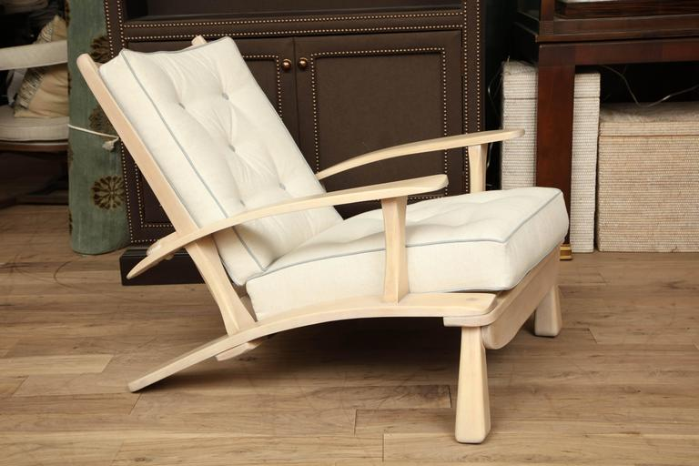Adjustable craftsman style oak lounge chair restored in a translucent whitewash to showcase the grain and through tenon construction; three positions perfect for a reading or sunroom; new tufted upholstery in flannel suede with a contrast pale blue