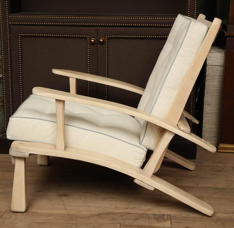 Adjustable Oak Lounge Chair For Sale 4