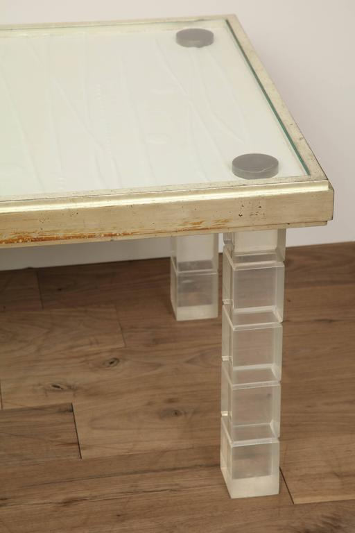 Lucite and Gessowork Coffee Table In Excellent Condition For Sale In New York, NY