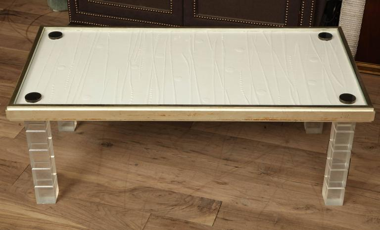 Lucite and Gessowork Coffee Table For Sale 5