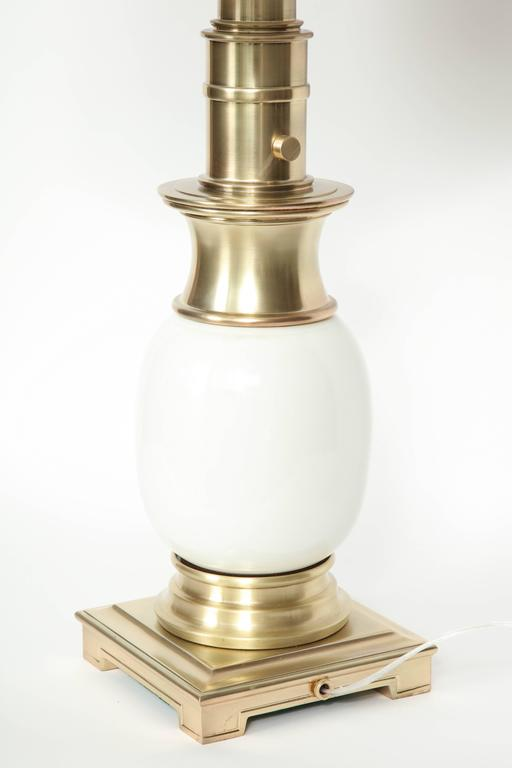 Brushed Stiffel Satin Brass and White Ceramic Lamps For Sale