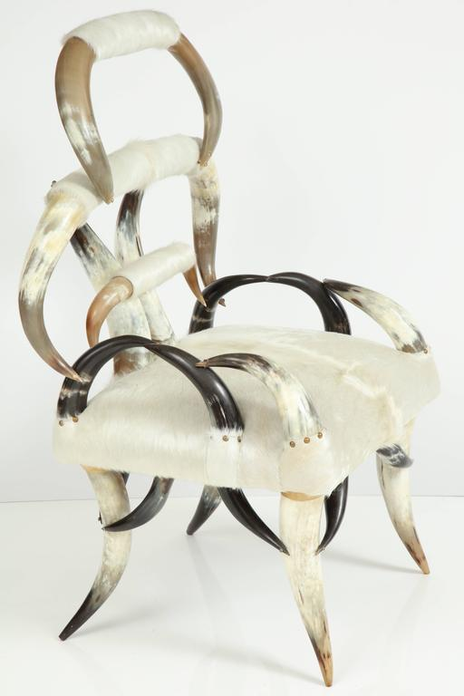 Cowhide Sculptural American Horn Chair For Sale