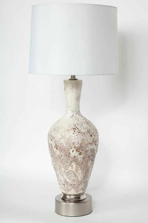 Italian Mid-Century Froth Glazed Ceramic Lamps In Excellent Condition For Sale In New York, NY