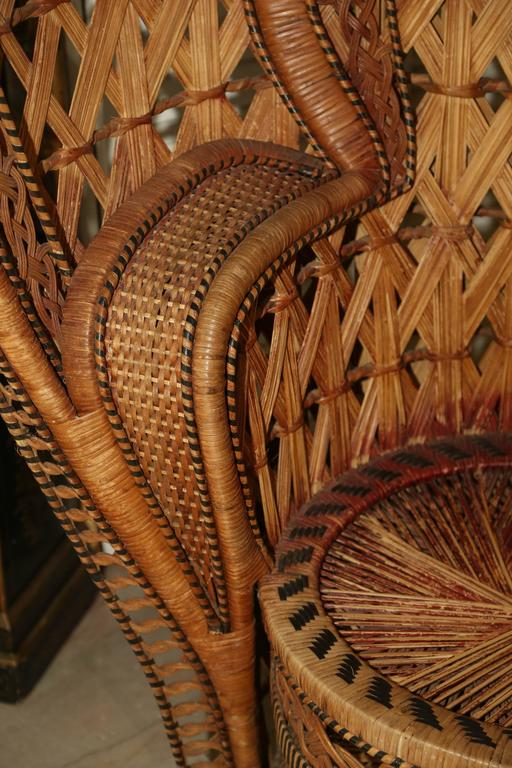 "Wicker Quintessential Anglo-Indian ""Peacock"" Chair For Sale"