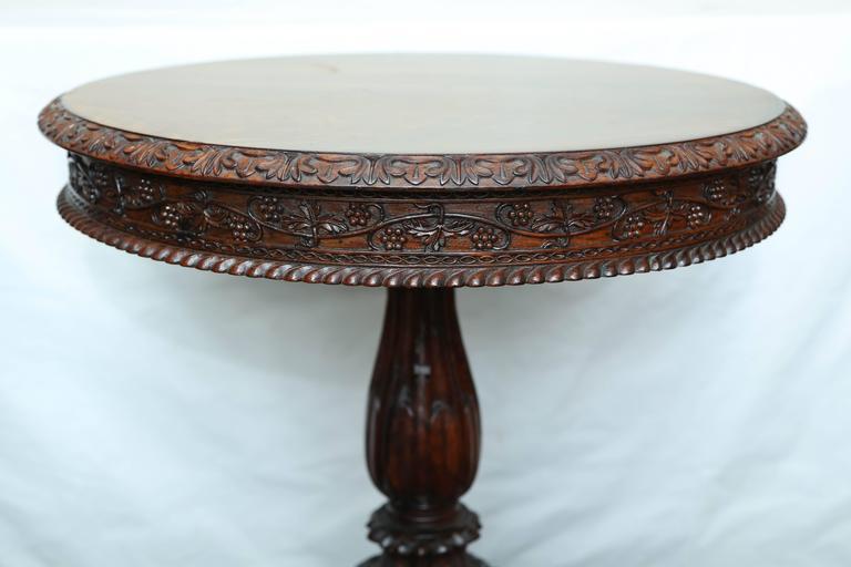 Sri Lankan Superb British Colonial Ceylonese Tilt-Top Table For Sale