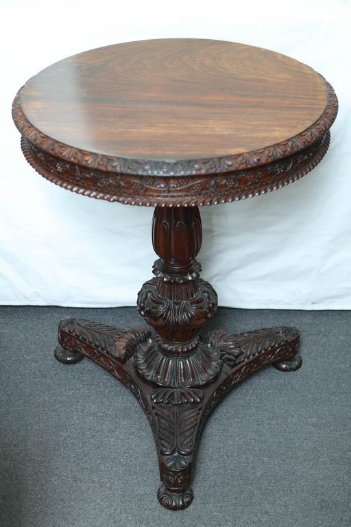 Rosewood Superb British Colonial Ceylonese Tilt-Top Table For Sale