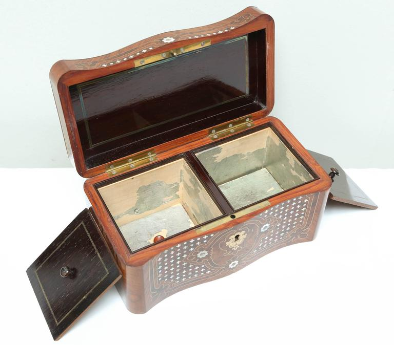 French Superb Napoleon III Inlaid Tea Caddy For Sale