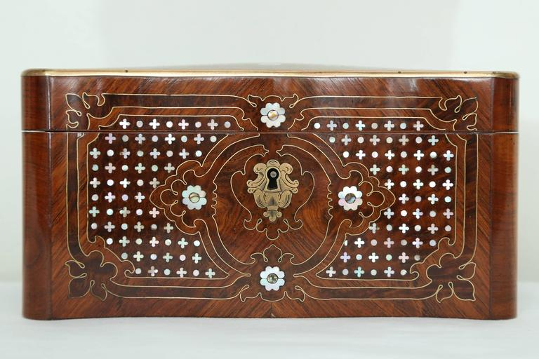 19th Century Superb Napoleon III Inlaid Tea Caddy For Sale