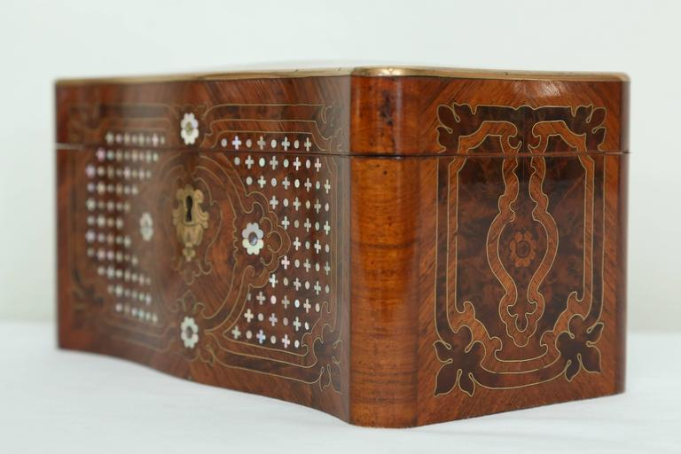 Wood Superb Napoleon III Inlaid Tea Caddy For Sale